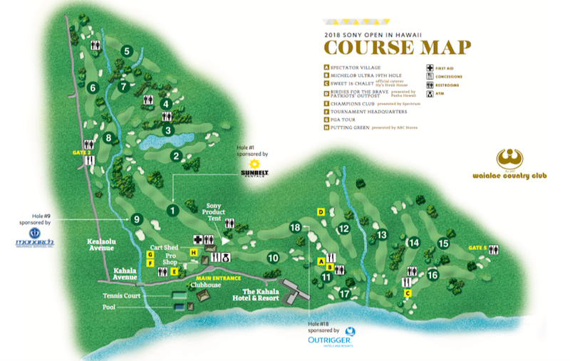Course Map 2019 Sony Open In Hawaii